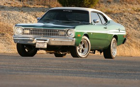 Picture Muscle, Green, Coupe, Tuning, Hardtop, Mopar, Vehicle, Plymouth Duster