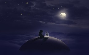 Picture flower, stars, clouds, dog, The moon, moon, flower, dog, clouds, stars, little prince, The Little …