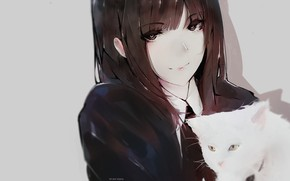 Picture face, schoolgirl, grey background, long hair, art, bangs, white kitten, Aoi Ogata