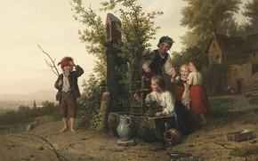 Picture 1868, German painter, German painter, The Blind Man's Buff Game, Johann Georg Meyer von Bremen, …