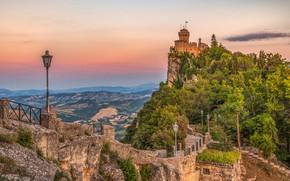 Picture castle, ladder, lantern, San Marino, Guaita tower, Guaita