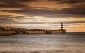 Picture sea, shore, lighthouse, Seaham Lighthouse
