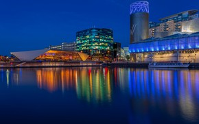Picture night, lights, river, England, building, home, promenade, Manchester, Salford Quays, North Bay