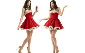 Picture girl, New Year, Christmas, maiden, red, girl, Santa Claus, red dress, Christmas, dress, beautiful, New ...