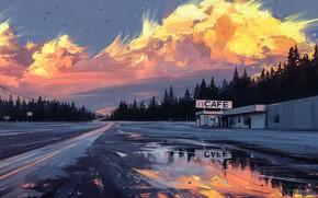 Picture road, sunset, figure, art, Horizon, landscape, art, cafe, Aenami, by Aenami, Alena Aenam The, 2019, …