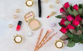 Picture roses, cosmetics, accessories