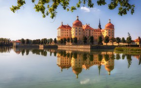 Picture trees, branches, lake, reflection, castle, Germany, Germany, Saxony, Moritzburg, Saxony, Moritzburg Castle, Moritzburg Castle, Moritzburg