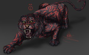 Picture tiger, fear, predator, mouth, claws, fangs, grin, Sabretooth, in the dark