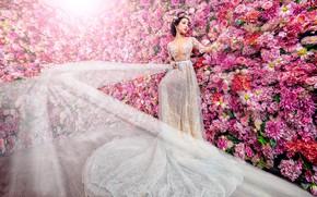 Wallpaper girl, decoration, flowers, white, garden, dress, pink, Asian, the bride, elegant, a lot, hem, luxury