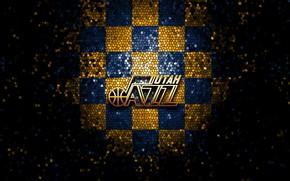 Picture wallpaper, sport, logo, basketball, NBA, Utah Jazz, glitter, checkered