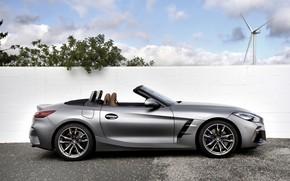 Picture grey, wall, windmill, BMW, profile, Roadster, BMW Z4, M40i, Z4, 2019, G29