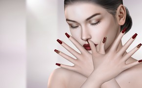 Picture girl, hands, manicure