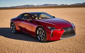 Picture car, machine, desert, Lexus, red, car, Lexus LC 500