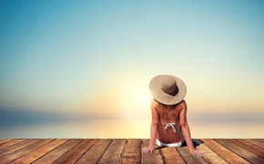 Wallpaper girl, hat, blur, the platform