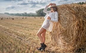 Picture pose, Girl, hay, Alexey Yuriev, Lera Ladygina