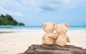 Wallpaper sand, sea, beach, love, toy, bear, bear, pair, Board, love, two, beach, bear, sea, romantic, ...