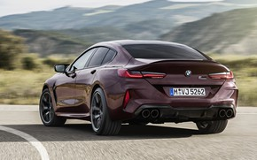 Picture coupe, speed, turn, BMW, track, 2019, M8, the four-door, M8 Gran Coupe, M8 Competition Gran …