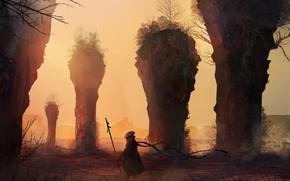Picture Figure, Warrior, Landscape, Art, Landscapes, Digital Art, TacoSauceNinja, by TacoSauceNinja, Life is hard