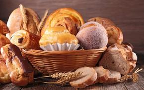 Picture basket, bread, cakes, buns