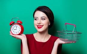 Picture girl, pose, smile, background, basket, watch, hands, makeup, brunette, alarm clock, hairstyle, green, in red