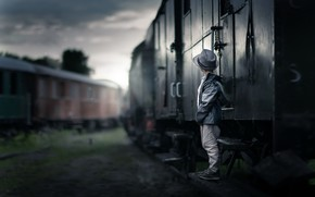 Picture road, train, boy