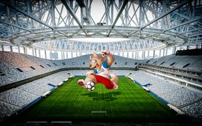 Picture The ball, Sport, Logo, Football, Wolf, Roof, Logo, Russia, 2018, Stadium, Lawn, FIFA, FIFA, Nizhny …