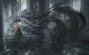 Picture girl, castle, Gothic, fantasy, black shadows