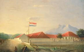Picture landscape, oil, picture, 1851, Herman Theodorus Hesselaar, Factory in Java