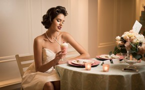 Picture girl, pose, candles, dress, hairstyle, ice cream, cafe, shoulders, Liana, Kyle Cong