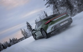 Picture snow, Porsche, green, rear view, 2020, Taycan, Taycan 4S