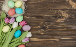 Picture flowers, eggs, flowers, happy, tulips, tulips, Easter, eggs, colorful, decoration, easter