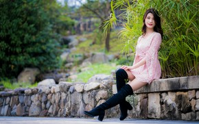 Picture girl, legs, Asian, bokeh