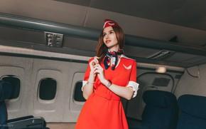 Picture look, Girl, form, the plane, stewardess, Anton Kharisov, Ksenia Serkova