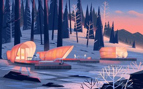 Picture winter, forest, shore, pond, Nomadic Homes Illustrations