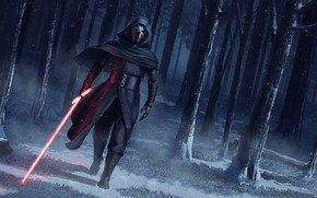 Picture Winter, Figure, Forest, Star Wars, Sword, Fantasy, Art, Lightsaber, Sith, Snow, Sith, Sword, Forest, Characters, …