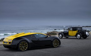 Picture Bugatti, Veyron, 2014, black-yellow, Veyron Grand Sport Roadster Vitesse One Of One