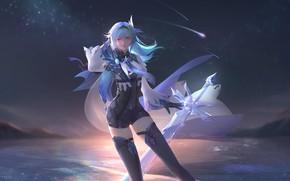 Picture ice, girl, night, sword, Genshin Impact, Eula