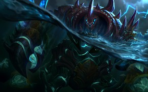 Picture water, the ocean, rocks, ship, monster, being, giant, League Of Legends, Urgot