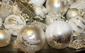 Picture winter, holiday, balls, Christmas, New year, white, beads, a lot, different, bokeh, Christmas decorations, Christmas …