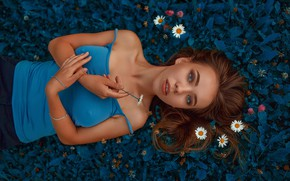 Picture look, girl, flowers, face, pose, hair, chamomile, hands, red, redhead, Andrey Metelkov, Andrey Metel'kov