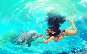 Picture girl, Dolphin, under water, Moana, Moana Waialiki, by Pauline Voß