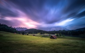 Picture road, field, forest, summer, the sky, grass, clouds, mountains, clouds, nature, hills, the slopes, tops, …