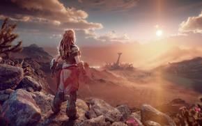 Picture girl, sunset, panorama, Aloy, Horizon Forbidden West