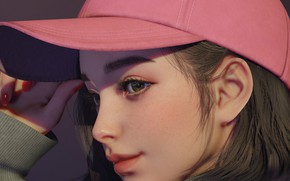 Picture face, hand, girl, girl, baseball cap, sweater, in profile, visor, by Juhye Jeong