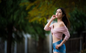 Picture girl, pose, shorts, Asian, bokeh