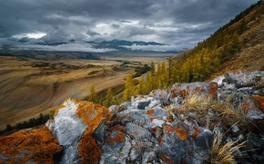 Picture autumn, forest, the sky, clouds, mountains, stones, overcast, hills, field, moss, slope, haze