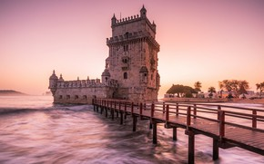 Picture city, waves, tower, sky, sea, bridge, sunset, castle, Portugal, architecture, Lisbon, monument, The tower of …