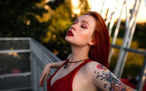 Picture pose, model, portrait, makeup, tattoo, hairstyle, Angelina, in red, redhead, bokeh, he closed his eyes, …