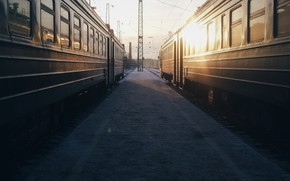Picture sunset, railways, Trains, tracks, wagons, stations