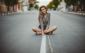 Picture road, look, pose, markup, hair, shorts, blonde, sitting, Anastasia, Maxim Curlew